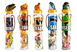 Mini Animal Toys in Tubes 69-Piece Set   Includes A Variety of Zoo, Farm, Sea, Insects & Dinosaur Figures   5 Separate Containers