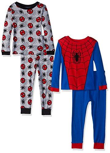 Marvel Boys' Toddler Spider-Man 4-Piece Cotton Pajama Set, Spiderman - Spidey Uniform, 2T