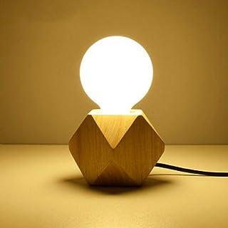 Lámpara de mesa de madera, casquillo E27, cable de 1.8m con interruptor, hasta 60W, lámpara decorativa retro industrial Edison, para salón, dormitorio y oficina, estudio,cafetería, bar,Lámpara móvil.