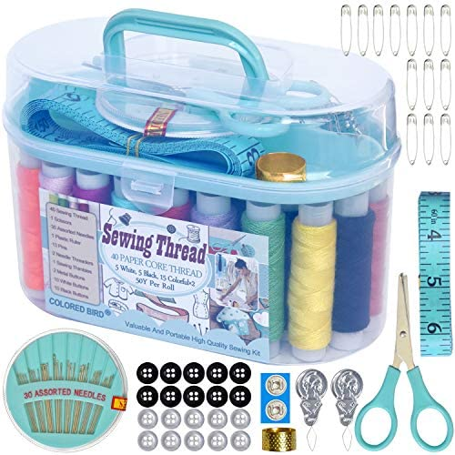 Rainbow Colored Sewing Thread Sewing kit Sewing Supplies Scissors Buttons pins Measuring Ruler product image