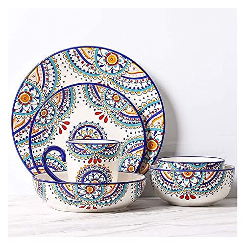6 Piezas patrón mediterráneo vajilla de vajilla de cerámica Occidental Platos Platos combinación Moda Creatividad Fruta Plato Profundo Ensalada Cuenco Yuechuang