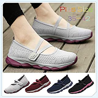 New Women Slip on Shoes Flat Casual Shoes Lightweight Running Shoes Fashion Woman Sneakers Walking Shoes Plus Size:35-42(Blue,9)