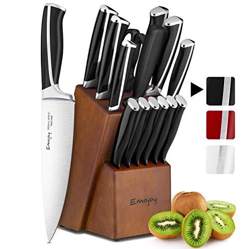 Emojoy Messerset, 15-teiliges Küchenmesserset mit Holzblock, ABS Griff für das Kochmesserset, Besteckset aus Edelstahl (Schwarz)