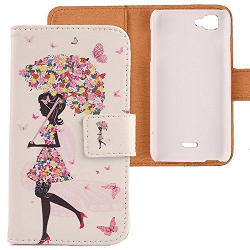 Lankashi PU Flip Leder Tasche Hülle Case Cover Schutz Handy Etui Skin Für Wiko Kite 4G Umbrella Girl Design