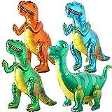 3D Globo de dinosaurio, BESTZY 4 Piezas Dinosaurio Globo de Helio, Globos Dinosaurios de Papel de Aluminio, Dinosaurio Jurásico Globos Fiesta, Suministros de Decoración de Cumpleaños