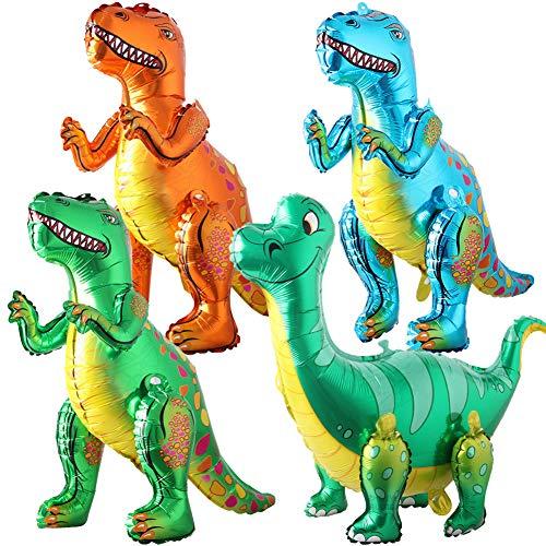 BESTZY 3D Palloncini Dinosauro di Lamina Dinosauro Palloncini Gonfiabili in Piedi Palloncini Dinosauro per Compleanno Festa a Tema Dinosauro Battesimo Decorazione Fornitura 4 Pezzi