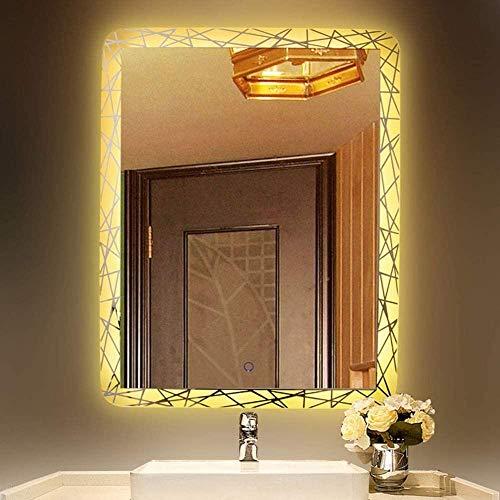 HFFFHA Espejos de baño Espejo de Pared de baño con iluminación LED de 650 x 460 mm con Interruptor antivaho y Sensor de música Bluetooth - IP44