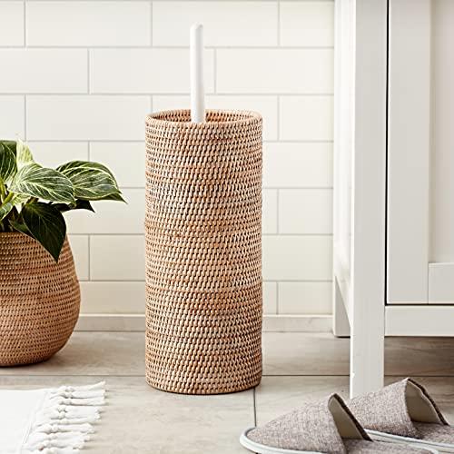 "KOUBOO 1030058 3 Rolls La Jolla Hand Woven Rattan Toilet Roll Stand, 6.75"" x 6.75"" x 20.5"", White Wash"