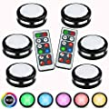 Puck Lights with Remote,Wireless Under Cabinet Lighting Battery Operated Closet Lights RGB Color Changing Stick On Lights 16 Colors Night Light with Dimmer & Timing Function (6 Pack)