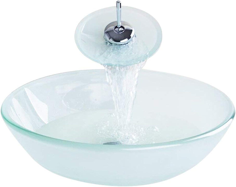 Waschbecken,Bad Waschbecke,Modern Gehrtetes Glas Waschbecken mit Wasserfall Armatur Set (Transparent 3)