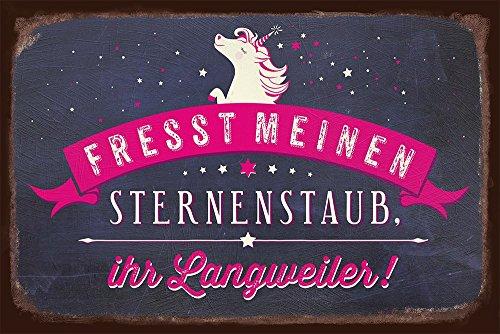 Grafik-Werkstatt Schild Art | Fresst Nostalgic Vintage Blechschild mit Spruch | Retro Wand-Deko | Nostalgie | schwarz | Einhorn Sternenstaub, Metall, 30 x 20 cm