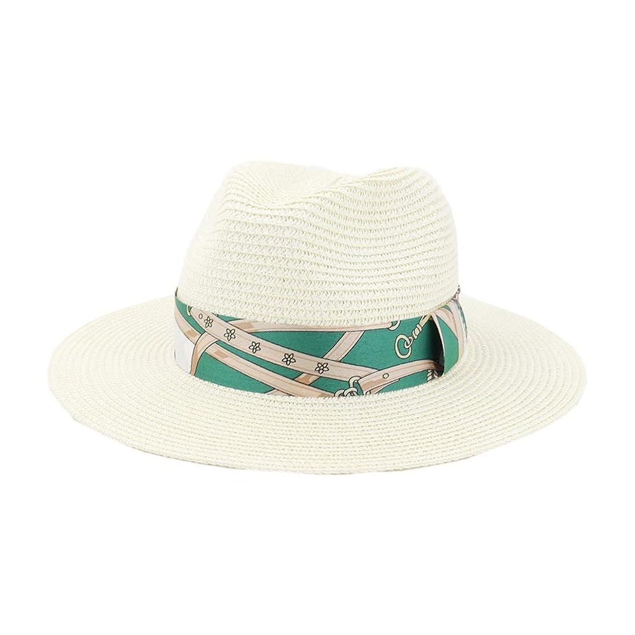 バクテリアノミネートクッションSGJFZD 女性男性夏広いつばのトキーラわらパナマ太陽の帽子エレガントな女性紳士ギャングトリルビーフェドラビーチパパキャップ (色 : クリーム, サイズ : 56-58CM)