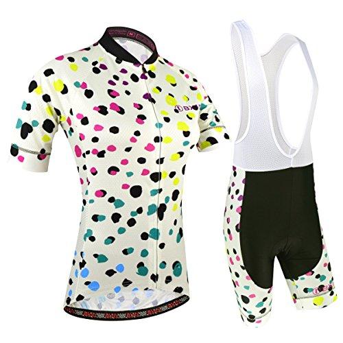 BXIO Abbigliamento Ciclismo Donna, Maglie Ciclismo Maniche Corte con Pantaloncini Ciclismo da Ciclismo Asciugatura Rapida per MTB Ciclista, Motivo Maculato, M
