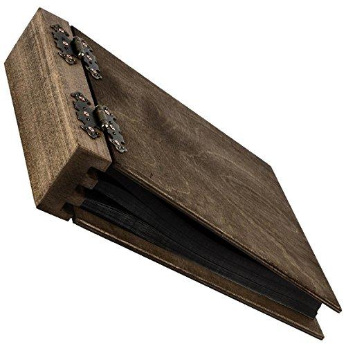 Aldecor Fotoalbum aus Holz mit 75 Blatt 150 Seiten, beidseitig klappbar im neutralen Holzdesign edle Struktur