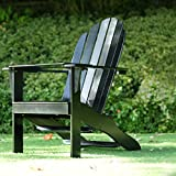 Cambridge Casual Solid Wood Bentley Adirondack Chair with Free Tray Table, Deep Black