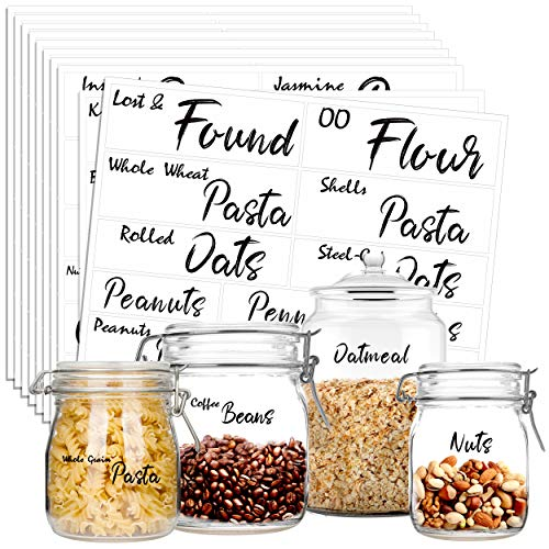 Hebayy 231 Pcs Clear Pantry Labels Set for Kitchen Restaurant Storage Organization Water Resistant with 7 Sizes Customizable Stickers for Food Containers, Jars for Flour, Sugar, Oat