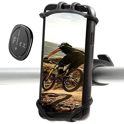 iFlexplus Fahrradhalterung für iPhone 12 Pro/12 mini/12/11 Pro Max/XR/8, Samsung S20/S10, verstellbare Universal-Silikonhalterung für Fahrrad/Kinderwagen/Lenker-Zubehör