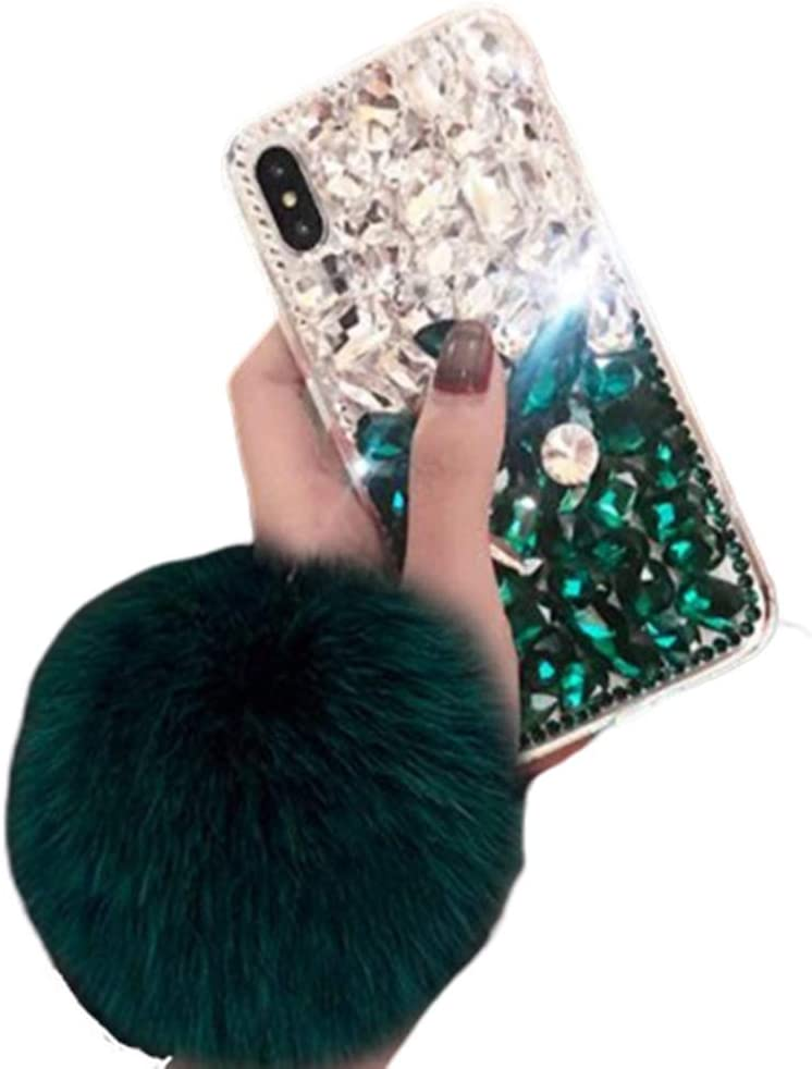 Aulzaju Note 10 Cute Rhinestone Case with Soft Furry Ball Strap Samsung Note 10 Case 3D Handmade Diamond Design Galaxy Note 10 Crystal Glitter Sparkle Protective Cover for Girls Women-Green