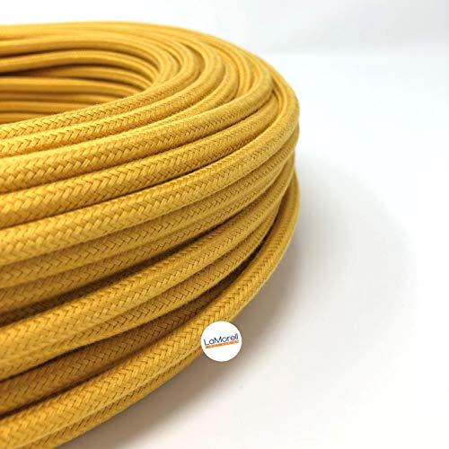 Cable eléctrico redondo/redondo revestido de tela. Color amarillo mostaza algodón. Sección 2...