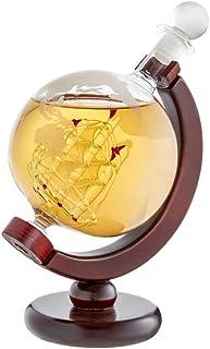 AMAVEL Globus-Karaffe für Whisky mit innenliegendem Schiff, Mit luftdichtem Verschluss und Weltkarten Motiv, Füllmenge 650 ml