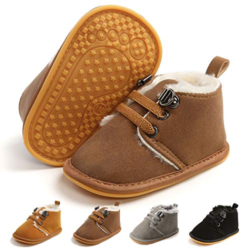Infant Boots Winter Baby Girl Boy Shoes Rubber Sole Anti-Slip Toddler Snow Warm Prewalker Newborn Boots(0-6 Months M US Infant,B-Dark Brown)