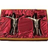 LWLSLK 2pcs Chinois Ancienne Tasse de vin de vin Traditionnel Tasse de Bronze Traditionnel 3 Jambes de Faux artefacts Tasses de Style Chinois Archaïdes Décoration de l'artisanat,Bronze