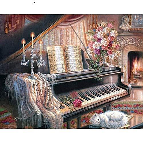 XIAOBAOZISZYH schilderen op nummer, doe-het-zelf olieverfschilderij, landschap piano kaars, 16 x 20 cm canvas Xy 89 - beginners digitaal schilderij met acrylverf en penseel voor kinderen en volwassenen