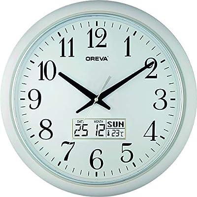 Ajanta Quartz Oreva Analog and Digital Dual Time Wall Clock (White)