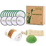 Eco4Beauty/Juego de almohadillas de algodón de bambú para eliminar el maquillaje facial con esponja orgánica Konjac y cinta para el cabello de spa, lavable y reutilizable para todos los tipos de pie