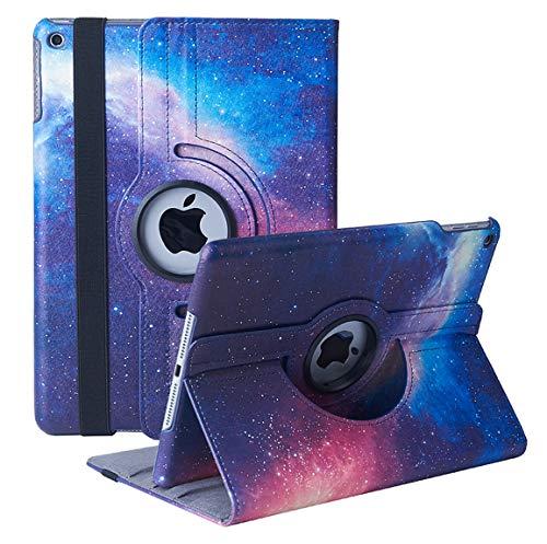 Funda para iPad de 10,2 pulgadas (8.a generación / 7.a generación, modelo 2020/2019): funda protectora con soporte giratorio de 360 grados, función de reposo / activación automática (Galaxy)