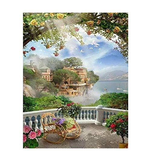 QAZEDC Digitale schilderij handgemaakte speelgoed puzzel frame Poort tuin DIY schilderij nummers acryl canvas landschap nummers voor Art House schilderijen 60x75