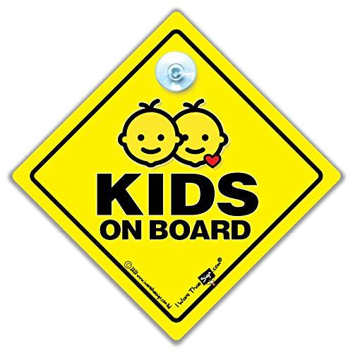Kids On Board Auto-Schild mit Saugnapf fürs Auto, für Kinder im Auto