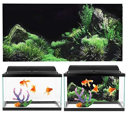 GOTOTOP Aquarium Poster, Meeresboden Wasser Gras Muster Aquarium Hintergrund Poster PVC Kleber Aufkleber Aquarium Tapete Dekoration(61 * 30cm)