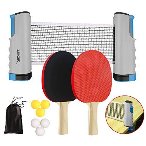 FBSPORT Sets de Ping Pong,Juego de Tenis de Mesa, Juego de Ping Pong,2 Raquetas de Tenis de Mesa,6 Pelotas de Ping-Pong,1 Red de Tenis de Mesa retráctil,1 Bolsa de Malla, para niños Adultos (Gris)