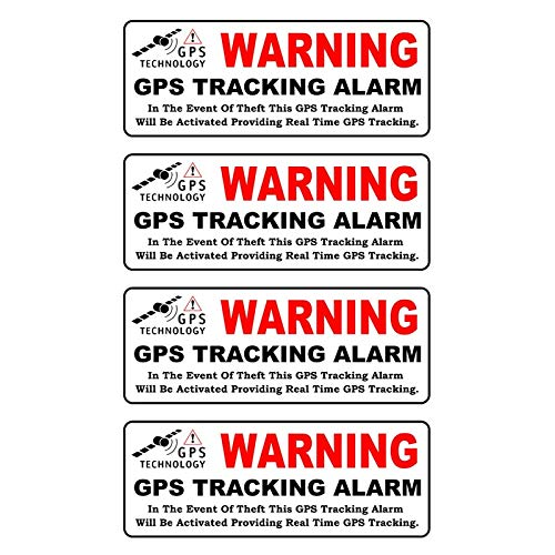 4 X Car Sticker WARNING GPS TRACKING ALARM Reflective Personality Decal Waterproof Automobile Accessories,10cm*3cm