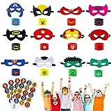 U&X 28 Stück Superheld Masken, Superheld Slap Armband und Superheld Aufkleber, Superheld Party...