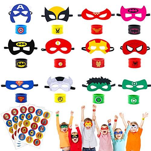 U&X 28 Stück Superheld Masken, Superheld Slap Armband und Superheld Aufkleber, Superheld Party Taschen Füllstoffe für Jungen Erwachsene Geburtstag, Superheld für Kinder Party Favors Spielzeug