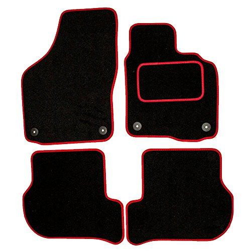 Sakura ss4638rd Alfombras de Coche (con los Controladores Side Alfombra Pad de tacón, Ribete de Color Rojo para Seat Altea a 08