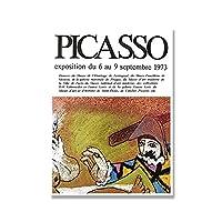 パブロピカソ展ポスターと版画美術館壁アートヴィンテージキャンバス絵画抽象画モダンなリビングルームの装飾50x70cmx1フレームなし