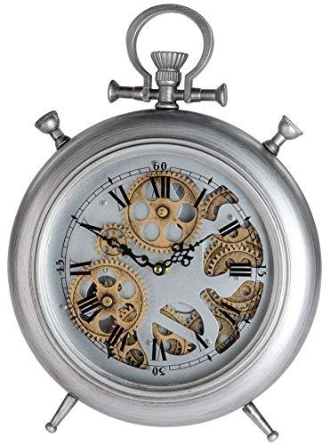 dekojohnson antike Standuhr Tischuhr Kaminuhr Metall mit sichtbaren beweglichen Zahnrädern Wohnzimmer Schlafzimmer Küchen-Uhr Retro Silber grau 30x30cm