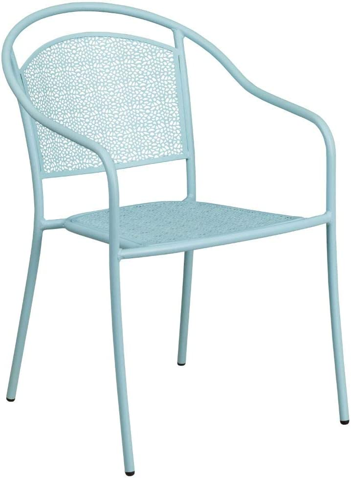Flash Furniture Commercial Grade 30 Round Sky Blue Indoor-Outdoor Steel Folding Patio Table Set with 2 Round Back Chairs