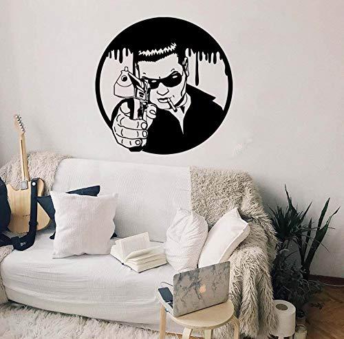 EyingEr Wandtattoo Scarface Film Gangster Al Capone Mafia Gun Waffe Wandaufkleber Schlafzimmer Vinyl Wohnkultur 56 * 56 Cm