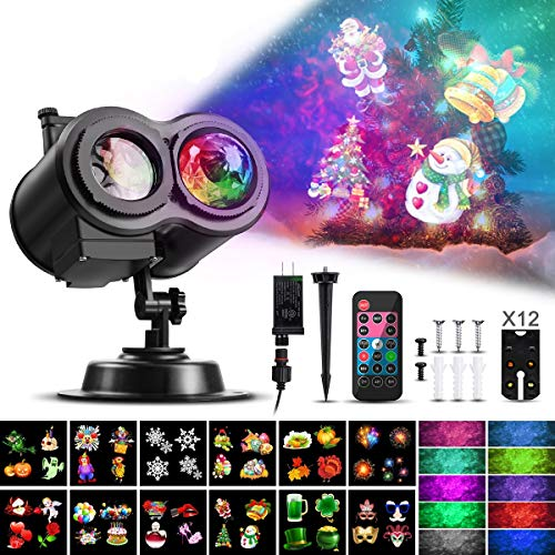 LED Projector Light, CAMTOA Moving Projector Light with 10 Colors Wave 12 Slides Pattern Remote Control Waterproof Projector Lamp, Holiday Light for Halloween Xmas Party Outdoor Indoor Decoration