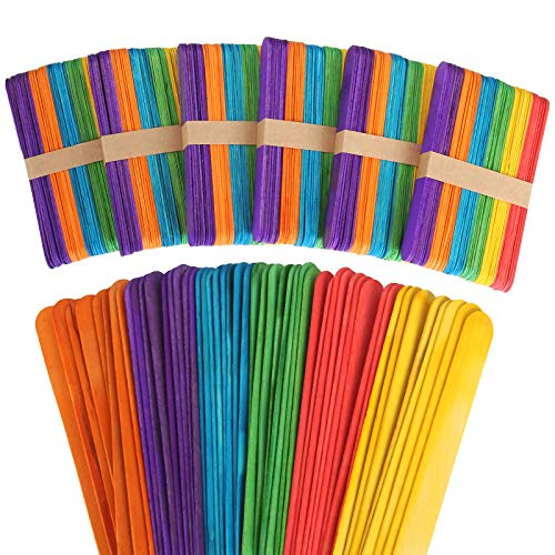 ZIQI 600 Pcs 6Inch Colored Craft Sticks, Rainbow Wooden Popsicle Colorful Craft Sticks for DIY Crafts,Home Art Projects, Classroom Art Supplies