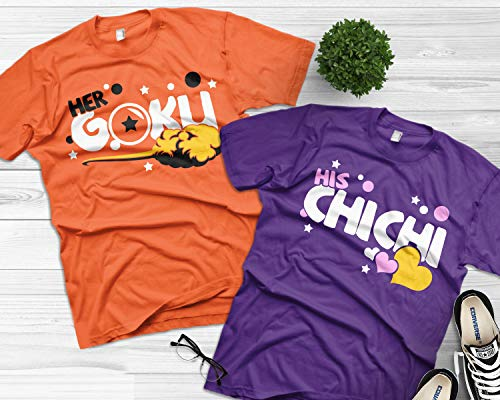 Her Goku and His Chichi matching couples shirts Dragon ball z funny shirts (Sold separately)