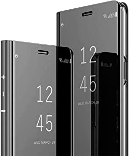 HongMan Funda Compatible con Samsung Galaxy S7 Carcasa, Espejo Mirror Flip Caso Clear View Standing Case Mirror PC + PU Cover 360° Protectora Bumper Cubierta, Negro