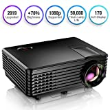 TENKER Projector, Mini Projector Portable 170'' Display, 1080P Supported Video Projector, 50000 Hours LED Movie Projector Compatible with HDMI, USB, AV, VGA, Phone and Laptop (Black)