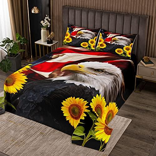 Adler Tagesdecke Bettüberwurf Steppdecke,Gelbe Sonnenblumen mit Blättern Bed Cover / Sofa Cover Patchwork,3D Adler Wildtier Softest Bettüberwurf Gesteppte Decke 3St,240x260