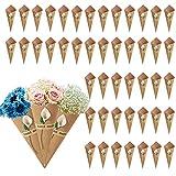 KELEOINA Conos Arroz Boda, 50 piezas de soporte de flores de conos de papel kraft retro con pegatinas de lirio de cala, conos de pétalos, papeles de cono de bricolaje para bodas, 15 x 15 cm (blanco)
