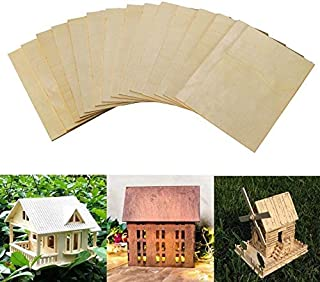 Natural Unfinished Square Board Blank Unpainted Wood Sheets Slices for DIY Crafts Wooden Mini House Boat Airplane Model Home Deco DXIA 8 Pcs Balsa Wood Sheets 1.5mm Thin Plywood Sheets
